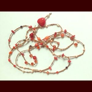 Jewelry - Hand Made Orange, Red, Pearl, Bronze Necklace